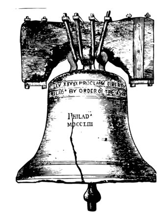 Liberty Bell is made up of copper and tin is an Iconic of American Independence located in Philadelphia, Pennsylvania vintage line drawing.