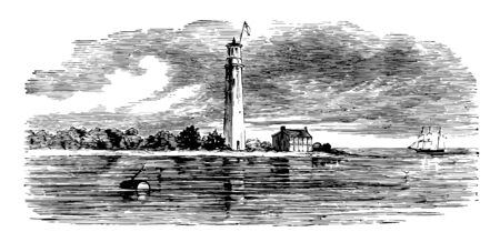 Lighthouse point is a city in Broward county, Florida vintage line drawing.