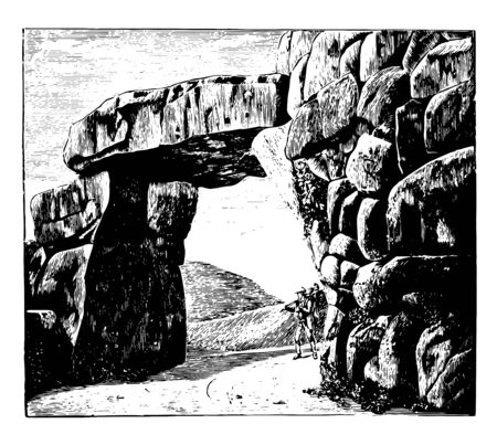 This image shows the wall of Signia. Wall is made by using larger rocks. There is a man under the wall, vintage line drawing or engraving illustration.