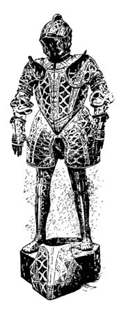 This illustration represents full Plate Armor, vintage line drawing or engraving illustration.