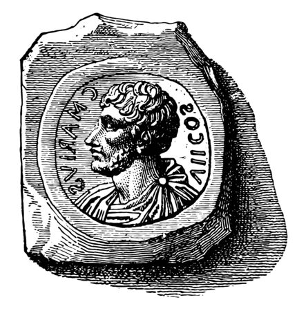 Stamp used to make coins with the impression of an emperor image, vintage line drawing or engraving illustration.