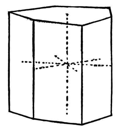 A diagram of the Ditrigonal prism. It is a 6-sided shape with 6 faces parallel to a 3-fold rotation axis. It is a main form of the hexagonal system, vintage line drawing or engraving illustration.