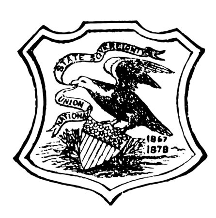 Illinois seal consist of a ribbon in eagals beak with state motto State Sovereignty,National Union vintage line drawing.