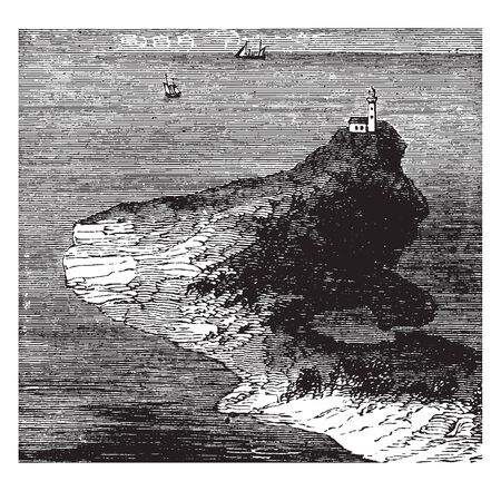 Peninsula is a piece of land surrounded by water on the majority of its border, vintage line drawing or engraving illustration. Illusztráció