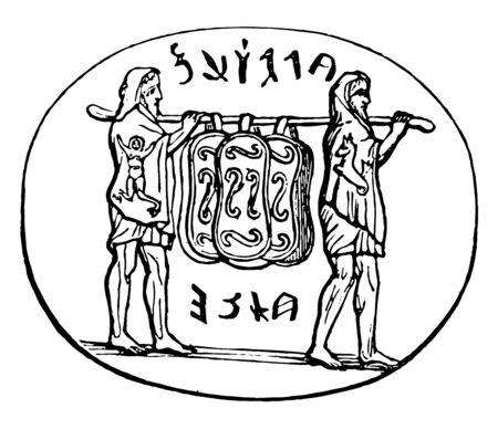 Hanging sacred shields carried by priests on a stick, vintage line drawing or engraving illustration.