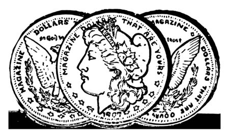 A picture showing three coins. The coins are rounded. Shows image of a left-facing in the center of a wreath surrounded, vintage line drawing or engraving illustration.