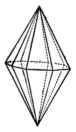 The table demonstrates Ditetragonal Bipyramid. Two pyramids joined at the base, vintage line drawing or engraving illustration.