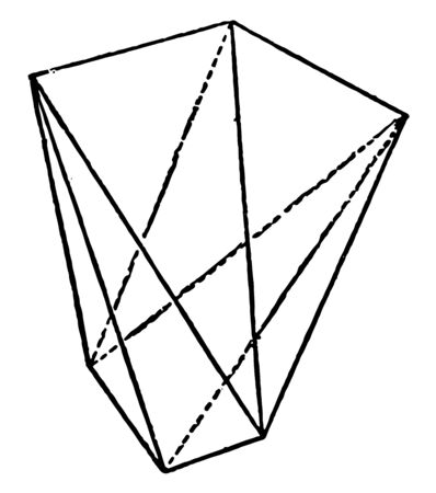 A diagram of Tetragonal Scalenohedron. It is limited by eight scalene triangles and has indexes, vintage line drawing or engraving illustration.