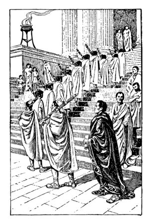 Guards who provide protection to the magistrate while heading towards the stairs of a building, vintage line drawing or engraving illustration. Illustration