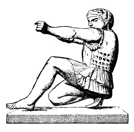 A sculpture of Herakles from gina , vintage line drawing or engraving illustration. Çizim