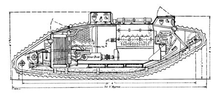 Mark I Tank Plan with the interior moving mechanical parts labeled, vintage line drawing or engraving illustration.