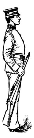 Trail Arms which is the piece may be grasped at the balance and the muzzle lowered until the piece is horizontal, vintage line drawing or engraving illustration. Ilustrace