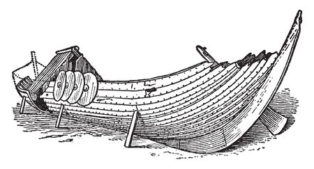 Viking boat found buried in Norway, vintage line drawing or engraving illustration.