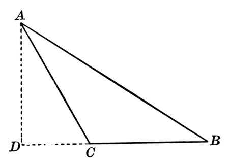 An image of Obtuse Triangle ABC. The outer side of the dotted lines of the triangle is AD and DC showing a new triangle, vintage line drawing or engraving illustration.