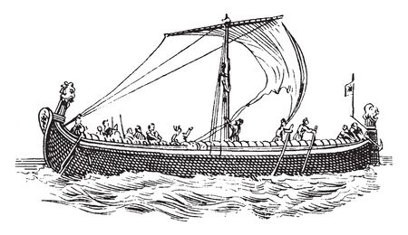 Saxon ship from Bayeux Tapestry is the right half of the King Harold tapestry which shows his army embarking to meet William of Normandy, vintage line drawing or engraving illustration.