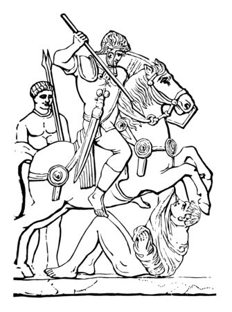 Warrior sitting on horseback and beating the opponent with javelin, vintage line drawing or engraving illustration. Vectores