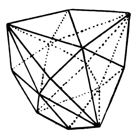 A diagram of Hextetrahedron. It is a main form of the isometric system. This form is delimited by forty-eight similar Scale triangles, vintage line drawing or engraving illustration.