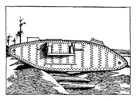 English Tank was a series of related armoured fighting vehicles developed by the UK during the First World War, vintage line drawing or engraving illustration. Illusztráció