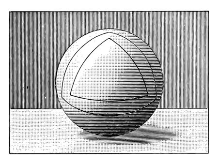 The image is of a sphere drawn with square triangles, vintage line drawing or engraving illustration. Çizim
