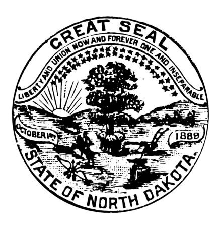 Seal of North Dakota showing tree in open field whose trunk surrounded by 3 bundles of wheat and an Indian on horse back pursuing a buffalo towards the setting sun vintage line drawing.