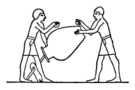 Two Egyptians holding an urn, vintage line drawing or engraving illustration.