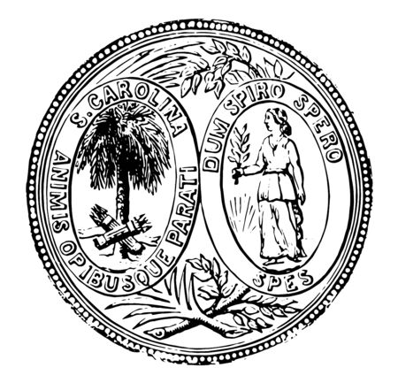 South Carolina seal adopted in 1776, with state motto  Quis separabit vintage line drawing.  イラスト・ベクター素材