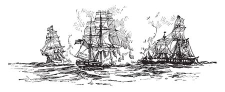 Naval Battle involving fifteen US fleet and light carriers nine Japanese carriers 170 other warships, vintage line drawing or engraving illustration.