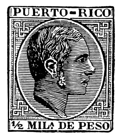 Porto Rico 12 Mila de Peso Stamp, 1882 showing image of face of king Alfonso vintage line drawing. 向量圖像