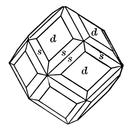 A sample combination of dodecahedron and hexoctahedron. Limited by diamond shaped parallel-sided, vintage line drawing or engraving illustration. Çizim