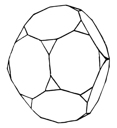 In the figure, the truncated dodecahedron. It has regular faces, triangular faces, vertices, edges, etc, vintage line drawing or engraving illustration.