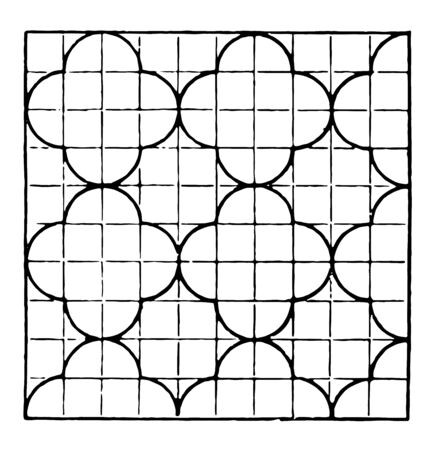 The image shows a beautiful tiling design along with a repetitive design pattern. Square in which there are ten rows and ten columns and each row has an arch and generates a creative design, vintage line drawing or engraving illustration. Ilustração