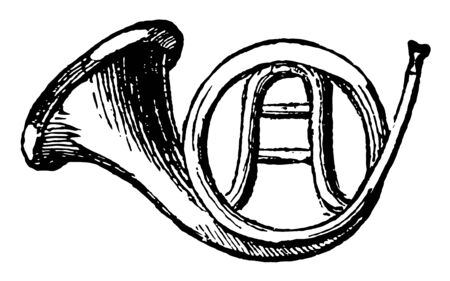 French horn is a wind instrument of music, vintage line drawing or engraving illustration. Standard-Bild - 132965910