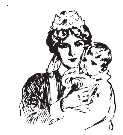 Nursery maid with baby, vintage line drawing or engraving illustration Ilustracja