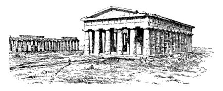 The magnificent view of Temple of Neptune, vintage line drawing or engraving illustration.