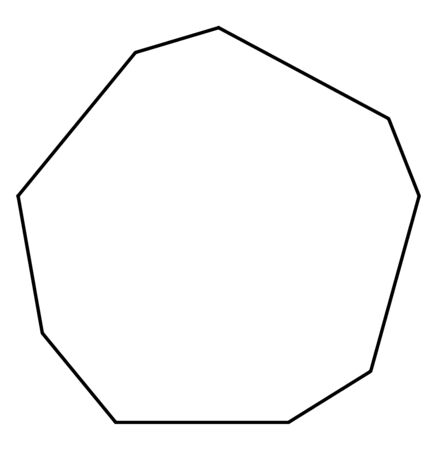 The image showing a concave irregular Nonagon. It has nine sides, vintage line drawing or engraving illustration.
