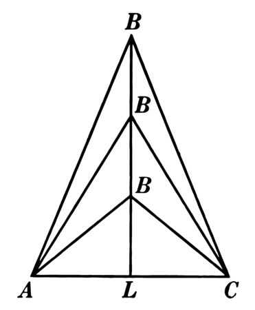The image showing 3 isosceles triangles. And three triangles is the same as the base AC, vintage line drawing or engraving illustration.