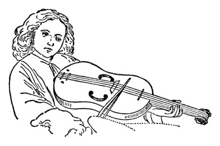 Alto Guitar Fiddle where a man playing a typical alto guitar fiddle in the 15th century, vintage line drawing or engraving illustration. 일러스트