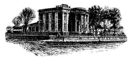 Governor's Mansion at Jackson, official fresidence for Governer vintage line drawing.