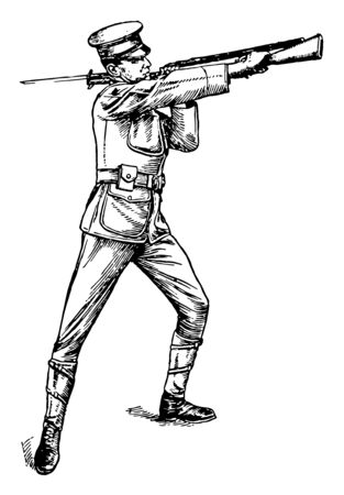 Butt Strike pivoting the rifle in the left hand at about the height of the left shoulder, vintage line drawing or engraving illustration.