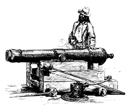 Long Tom is a large cannon placed on naval ships during the American Revolution, vintage line drawing or engraving illustration. Ilustração