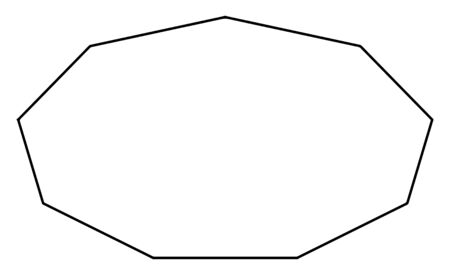 This image is an irregular convex nonagon with nine sides, vintage line drawing or engraving illustration.