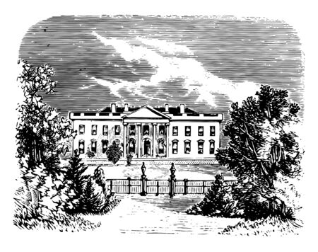 White house in Washington, boarded on north by pennsylvania avenue vintage line drawing.