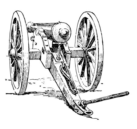 Cannon which is a movable canon on wheels, vintage line drawing or engraving illustration. Illusztráció