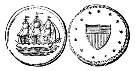 A picture is showing Copper Cent Coin, 1659. This is the 1 cent. This coin is showing an image of right facing sailing ship and its reverse shows a shield with surrounded 13 stars, vintage line drawing or engraving illustration.