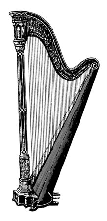 Harp is an instrument having an upright triangular frame consisting of a pillar, vintage line drawing or engraving illustration.  イラスト・ベクター素材