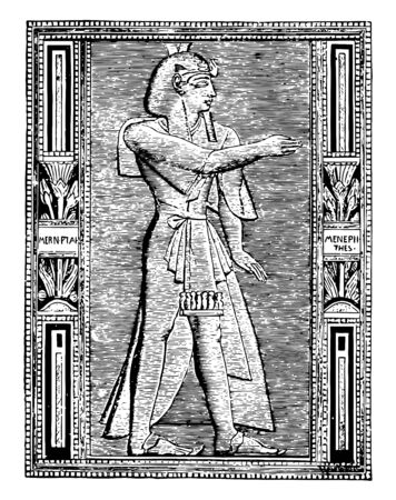The thirteenth son of Rameses II who ruled Egypt for a decade, vintage line drawing or engraving illustration. Illustration