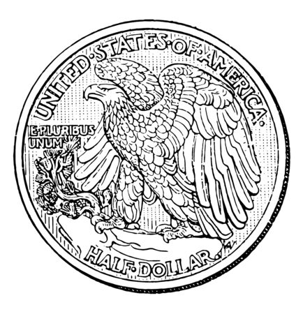 The half dollar, sometimes referred to as the half for short, is United States coin worth 50 cents. The image showing a Reverse side coin, vintage line drawing or engraving illustration.