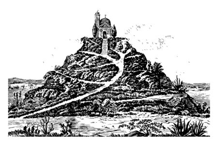 This great pyramid looks like the grassy hill along with church. It is very large area containing pyramid vintage line drawing. Illustration