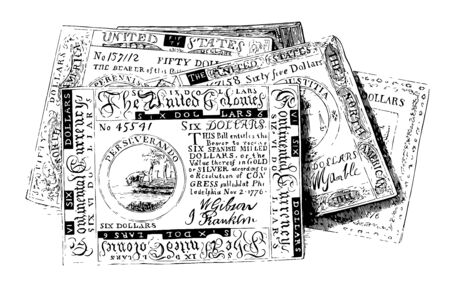 This is the Continental Bills of America. The paper on which these bills were printed was quite thick, vintage line drawing or engraving illustration.