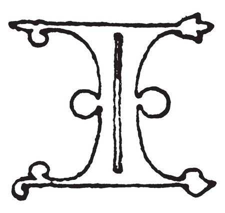 A letter I in Gothic uncial, vintage line drawing or engraving illustration
